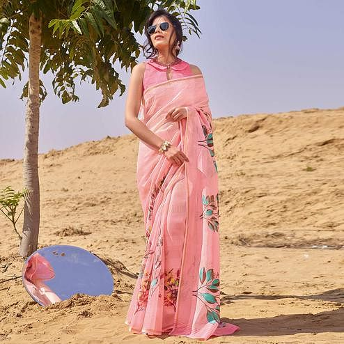 Dazzling Pink Colored Casual Wear Floral Digital Printed Linen Cotton Saree