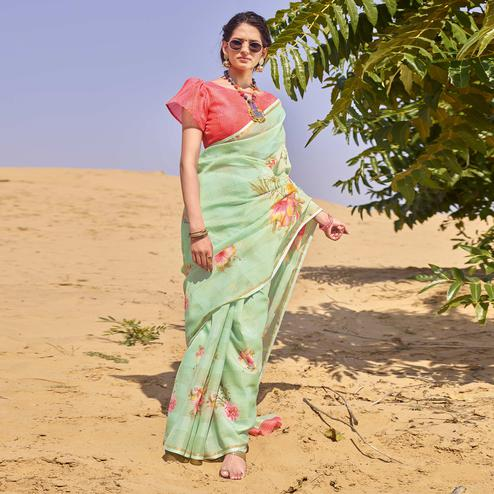 Surpassing Green Colored Casual Wear Floral Digital Printed Linen Cotton Saree