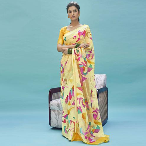 Desirable Yellow Colored Casual Wear Digital Printed Linen Cotton Saree