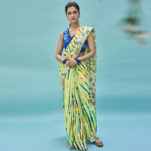 Radiant Green Colored Casual Wear Digital Printed Linen Cotton Saree