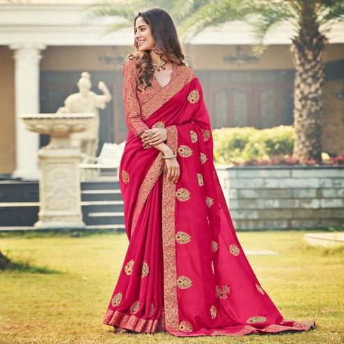 Adorable Pink Colored Party Wear Embroidered Silk Saree