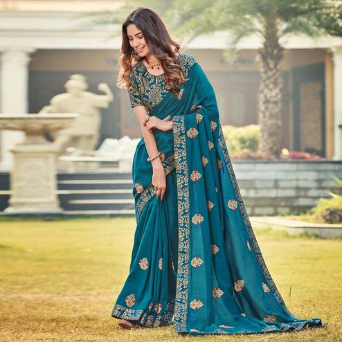 Glorious Teal Blue Colored Party Wear Embroidered Silk Saree