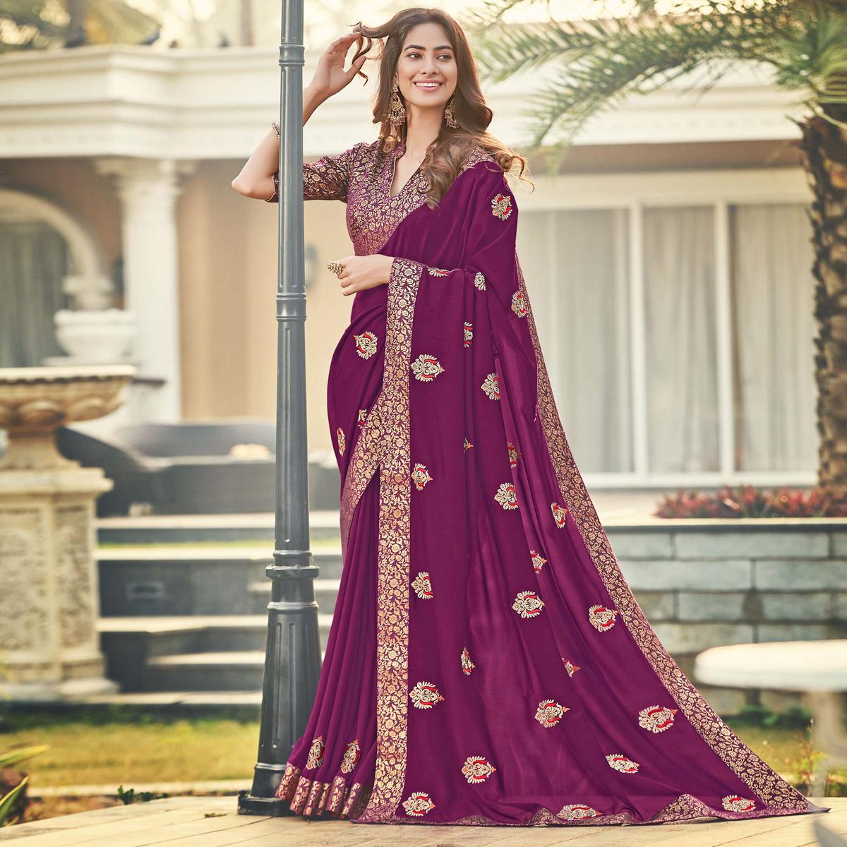 Attractive Purple Colored Party Wear Embroidered Silk Saree