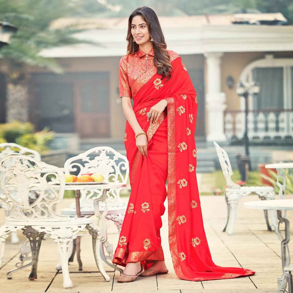 Beautiful Red Colored Party Wear Embroidered Silk Saree