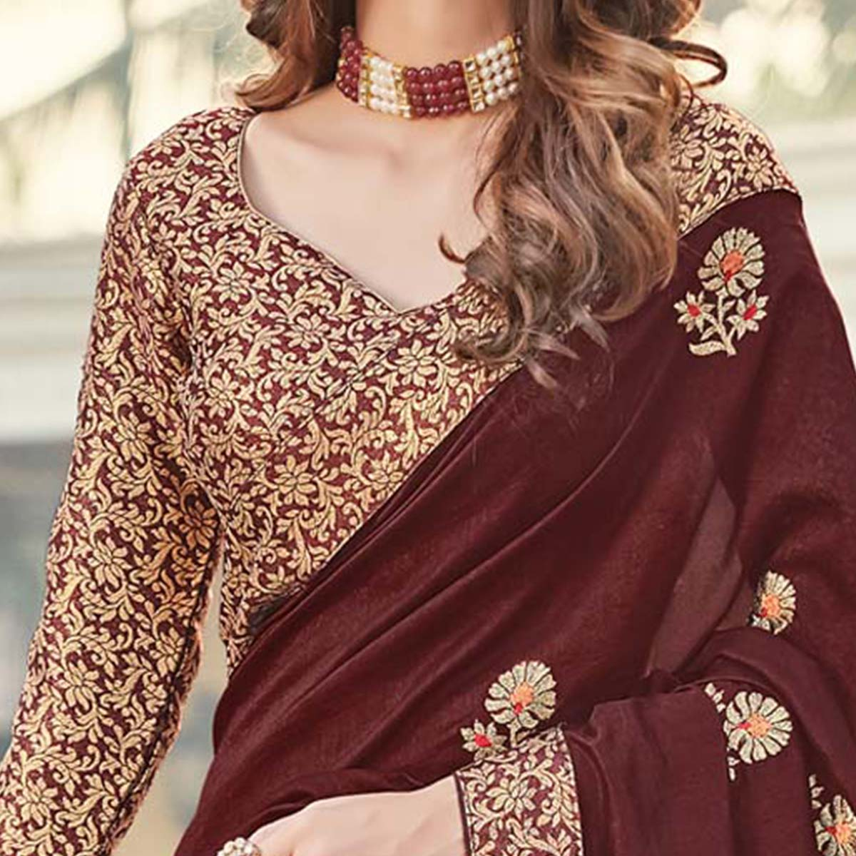 Blooming Dark Brown Colored Party Wear Embroidered Silk Saree