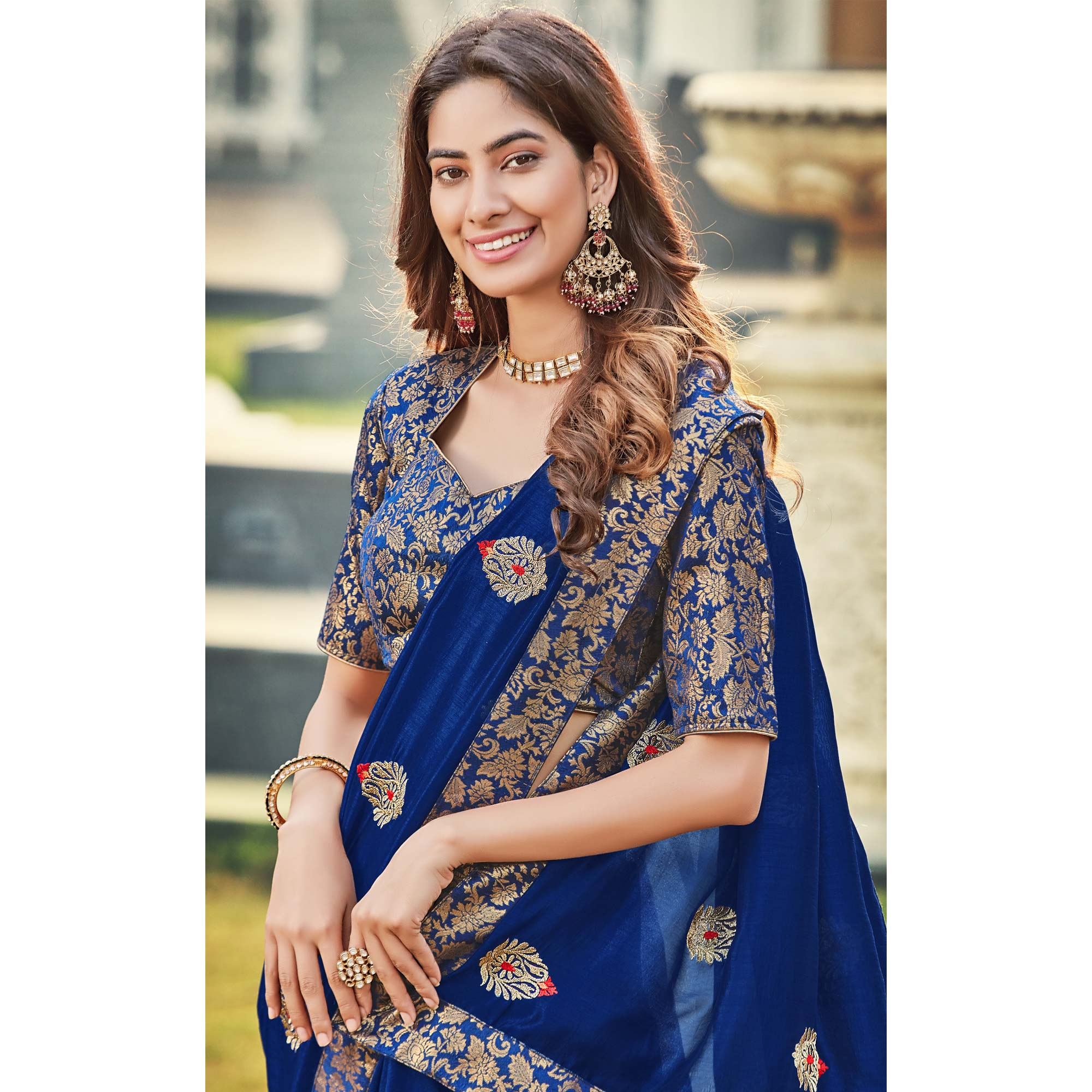 Charming Blue Colored Party Wear Embroidered Silk Saree