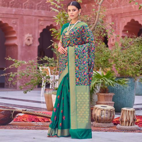 Glowing Green Colored Festive Wear Woven Half & Half Silk Saree