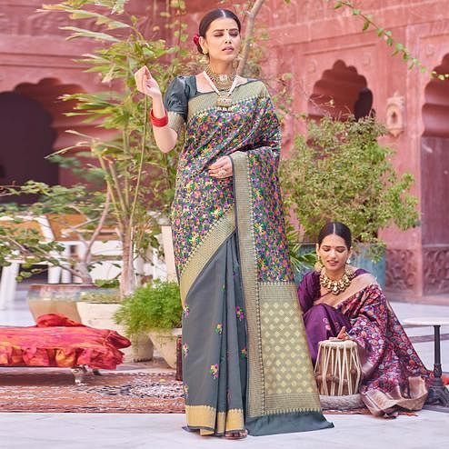 Gleaming Grey Colored Festive Wear Woven Half & Half Silk Saree