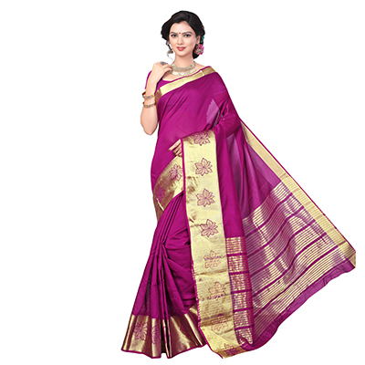 Magenta Cotton Silk Weaving Work Saree