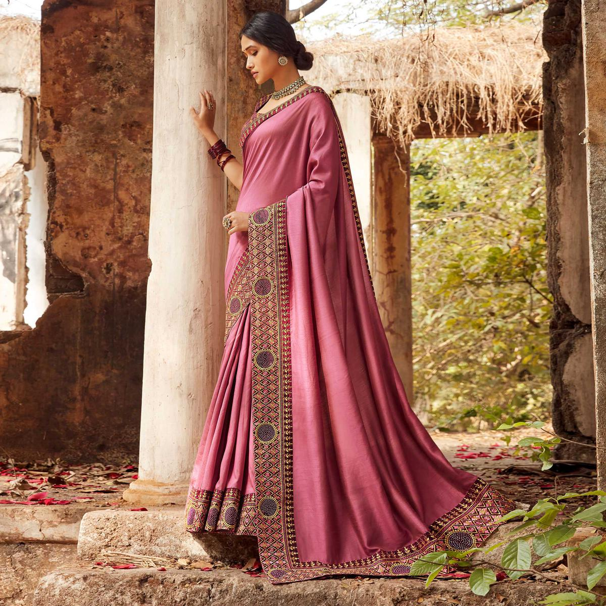 Captivating Pink Colored Party Wear Embroidered Silk Saree
