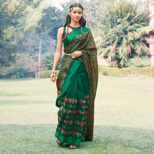 Alluring Green Colored Casual Wear Printed Half & Half Cotton Silk Saree