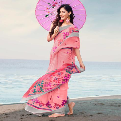 Ideal Pink Colored Casual Printed Linen Saree