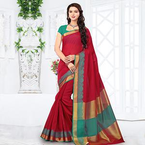 Red Casual Wear Woven Saree