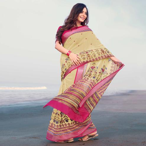 Imposing Light Yellow Colored Casual Printed Linen Saree