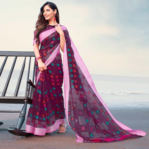 Lovely Purple Colored Casual Printed Linen Saree