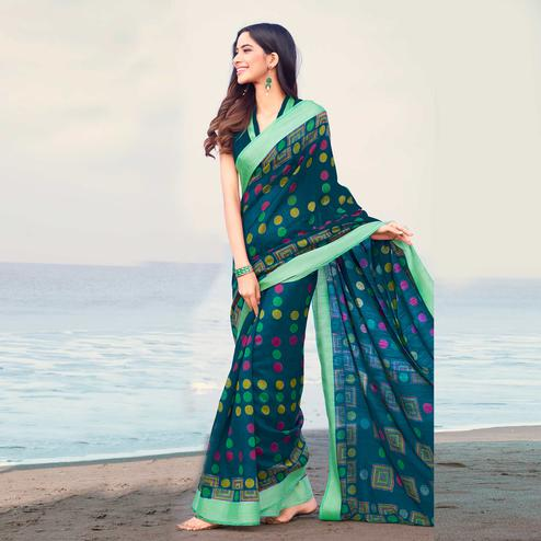 Majesty Blue Colored Casual Printed Linen Saree