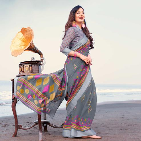 Impressive Grey Colored Casual Printed Linen Saree