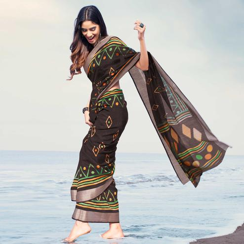Mesmerising Black Colored Casual Printed Linen Saree