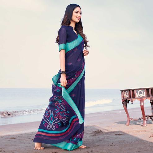 Pleasance Blue Colored Casual Printed Linen Saree