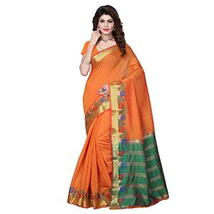 Orange Cotton Silk Weaving Work Saree