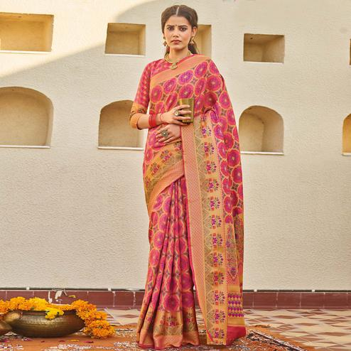 Exotic Pink Colored Festive Wear Woven Silk Saree