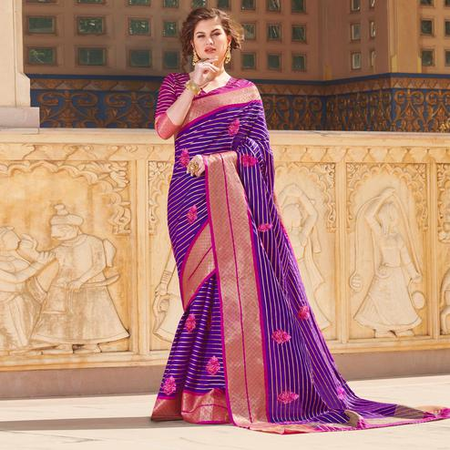 Radiant Purple Colored Party Wear Embroidered Linen Silk Saree