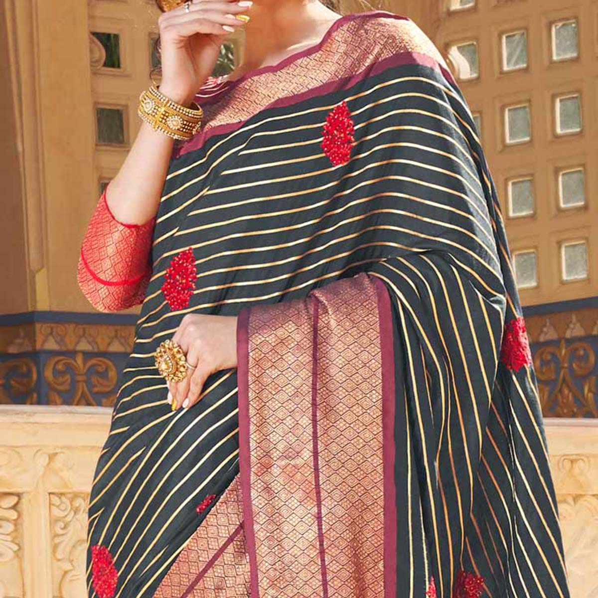 Pleasant Black Colored Party Wear Embroidered Linen Silk Saree