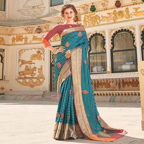 Energetic Sky Blue Colored Party Wear Embroidered Linen Silk Saree
