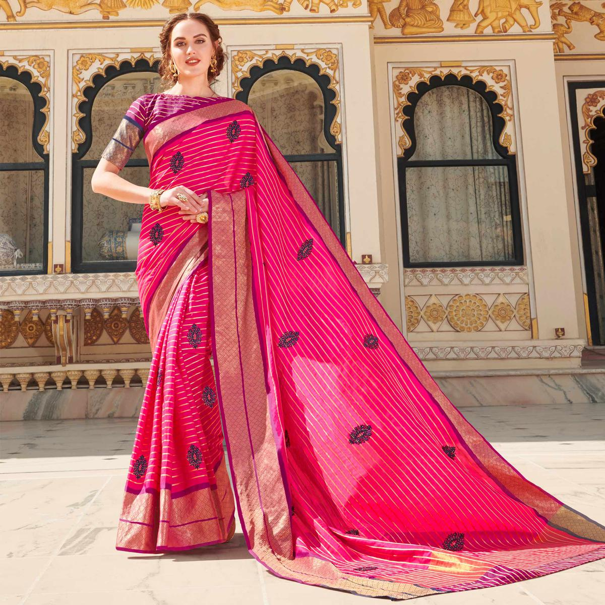 Exceptional Pink Colored Party Wear Embroidered Linen Silk Saree