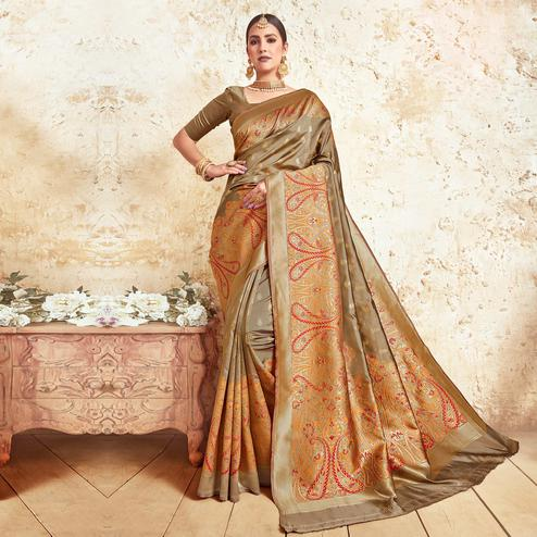 Delightful Brown Colored Festive Wear Woven Silk Saree
