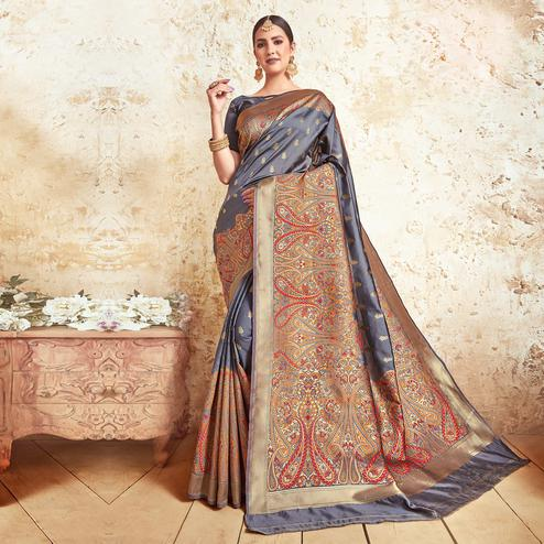 Engrossing Grey Colored Festive Wear Woven Silk Saree