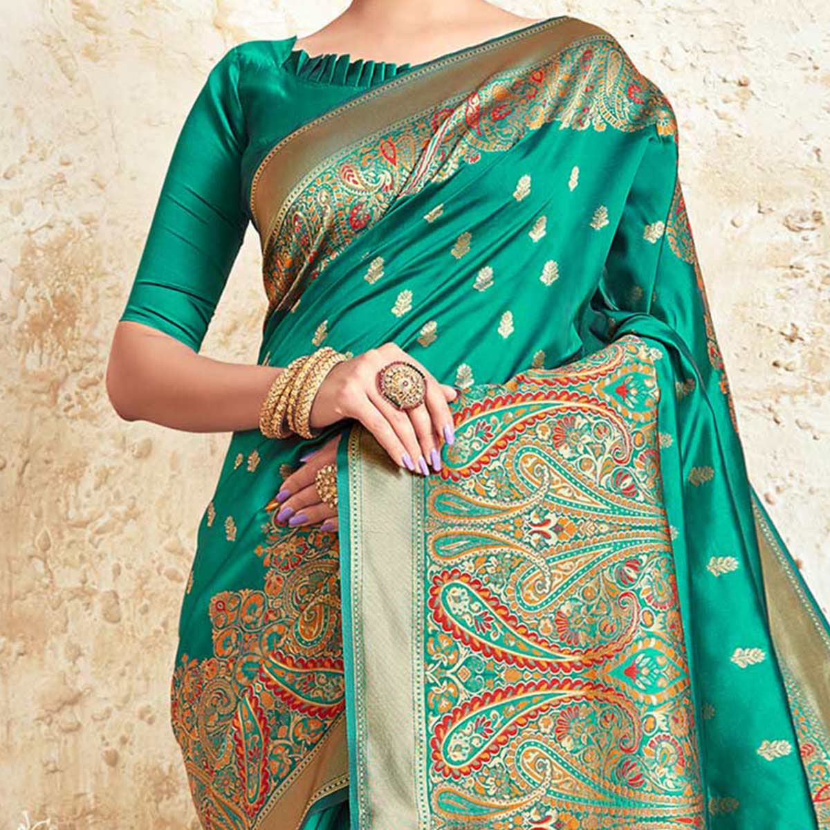 Captivating Turquoise Green Colored Festive Wear Woven Silk Saree