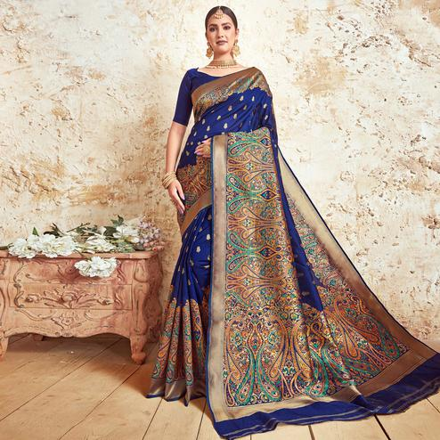 Innovative Royal Blue Colored Festive Wear Woven Silk Saree