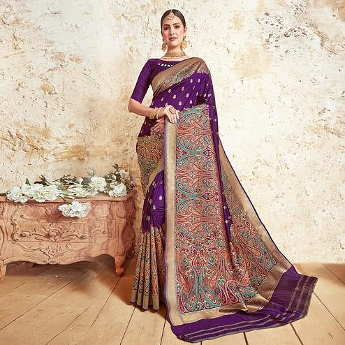 Eye-catching Purple Colored Festive Wear Woven Silk Saree