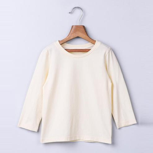 Beebay Cream Round Neck T-Shirt For Kids