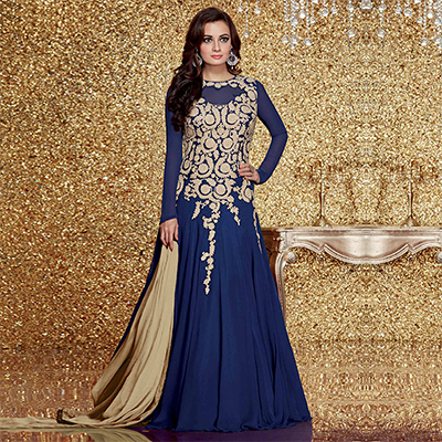 Royal Blue Party Wear Anarkali Suit