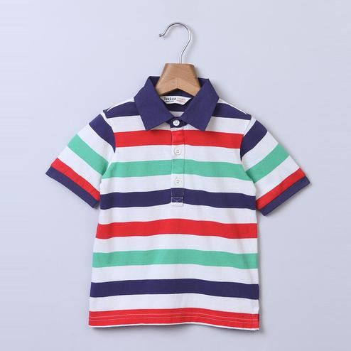 Beebay Navy, Red & Green Stripe Polo T-Shirt For Infants