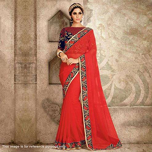 Red Saree with Embroidered Border & Blouse