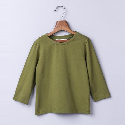 Beebay Olive Green Round Neck T-Shirt For Kids