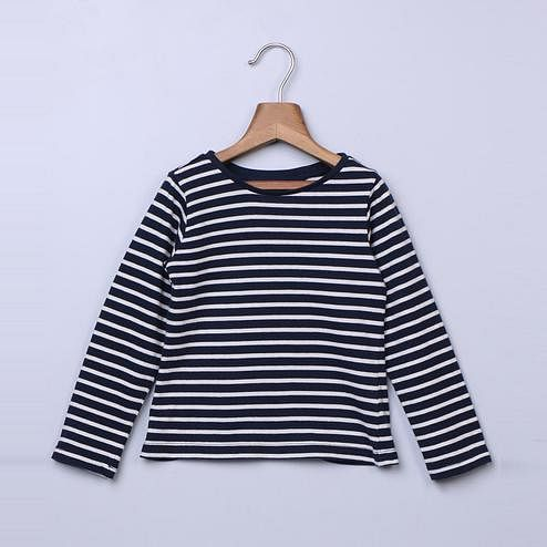 Beebay Navy Stripe Full Sleeve Tshirt For Infants