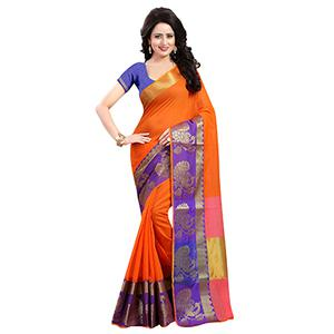 Orange Weaving Work Poly Cotton Saree