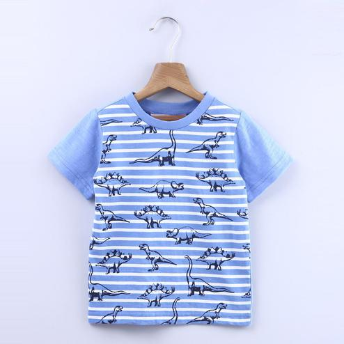 Beebay Dinosaur Print On Stripe T-Shirt For Infants