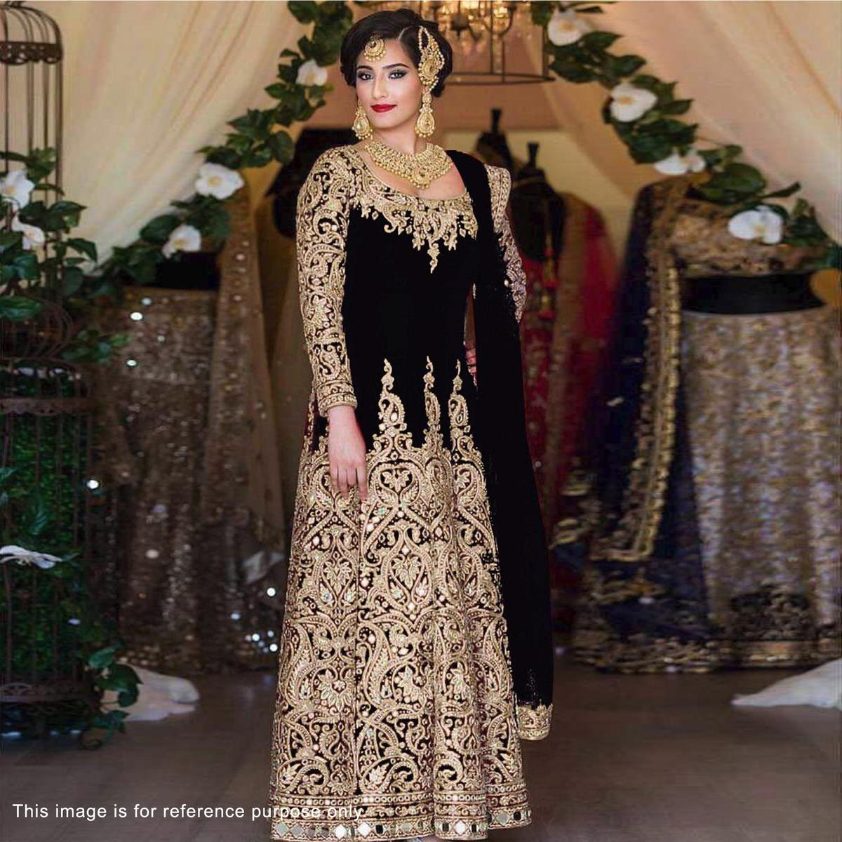 Black Heavy Embroidered Work Wedding Suit