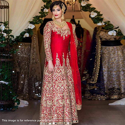 Red Wedding Wear Heavy Embroidered Suit