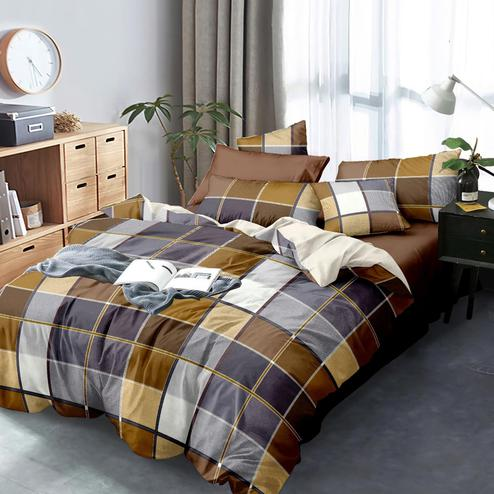Trendy Multi Colored Checked Printed Queen Sized Bedsheet With Cushion Cover