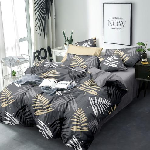 Elegant Grey Colored Tropical Printed Queen Sized Bedsheet With Cushion Cover
