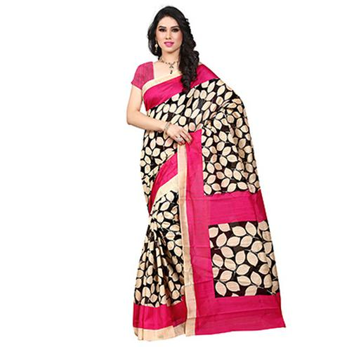 Beige - Pink Art Silk Saree