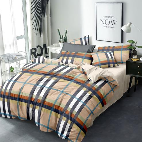 Blooming Beige Colored Checked Printed Double Bedsheet With Pillow Cover