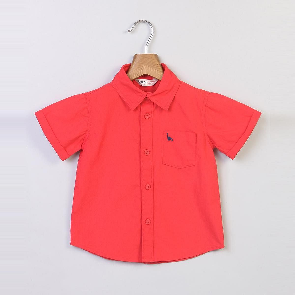 Beebay Red Shirt With Dino Pocket Embroidery For Infants
