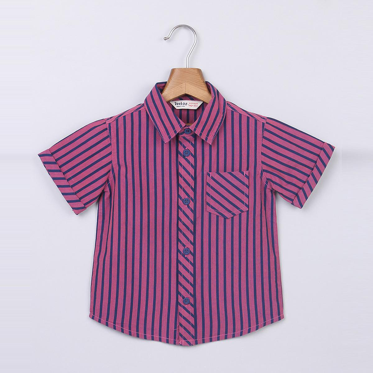 Beebay Pink And Blue Stripe Shirt For Kids